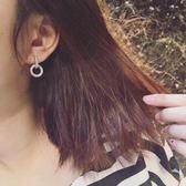 618好康鉅惠 新款銀針韓版鑲鋯石水?圓圈長款耳環