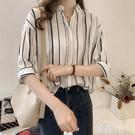 短袖襯衫 雪紡襯衫女韓版寬鬆夏裝新款女裝很仙的上衣短袖條紋洋氣襯衣 韓菲兒