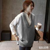 毛衣馬甲新款韓版針織馬甲背心女坎肩衫寬鬆V領無袖毛衣 qw1980『俏美人大尺碼』