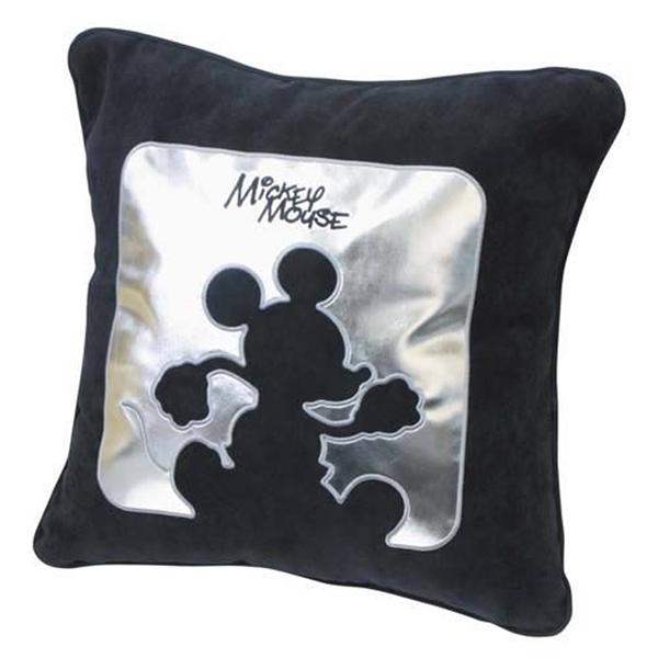 車之嚴選 cars_go 汽車用品【WD-165C】迪士尼Disney Mickey Mouse米奇 靠墊 抱枕 銀黑色