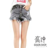 EASON SHOP(GW5091)韓版排釦刷破洞毛邊抽鬚A字牛仔褲流蘇撕邊收腰女高腰短褲顯瘦寬褲熱褲單寧休閒褲