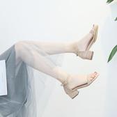 高跟鞋涼鞋女新款夏季百搭中跟粗跟仙女風低跟搭配裙子晚晚高跟女鞋 小天使