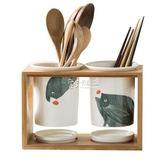 筷架 多功能筷子筒家用陶瓷筷子收納筷籠廚房置物架日式瀝水雙筒筷子盒 卡菲婭