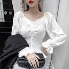 滿千免運~長袖娃娃衫褶皺荷葉邊雪紡襯衫女小眾收腰娃娃衫泡泡袖上衣GD463H日韓屋