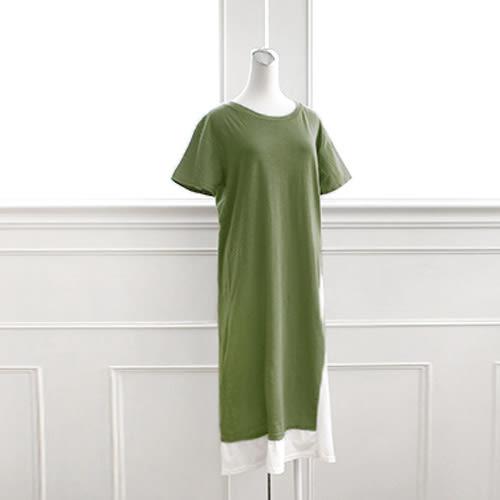 MIUSTAR 正韓.假兩件視覺顯瘦側剪接配色竹節棉洋裝(共2色)【NF0566RE】預購