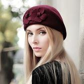 貝雷帽-優雅花朵純色復古毛呢女帽子6色72b28[巴黎精品]