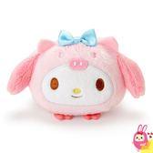 Hamee 日本正版 三麗鷗 豬年限定 圓滾滾山豬造型 絨毛娃娃 掌上型玩偶 (美樂蒂) 253481N