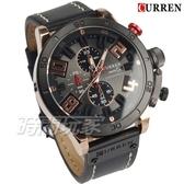 CURREN卡瑞恩 大數字大錶徑 潮男真三眼計時腕錶 防水 皮革手錶 玫瑰金x黑 CU8312玫黑