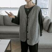 正韓 V領口袋寬鬆保暖背心 (3329292) 預購