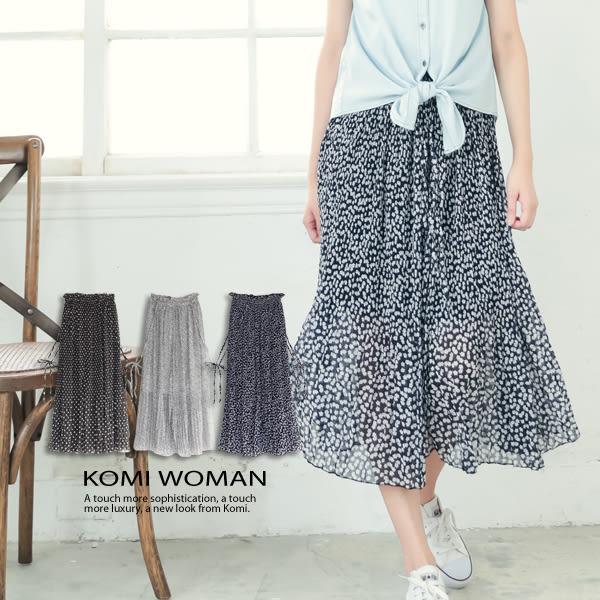 【KOMI】圓點小花細帶雪紡鬆緊長裙 ‧ 有內裡 (1613-610006)