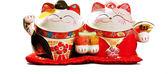 【金石工坊】好事成雙情侶貓(高11CM)招財貓 聚寶盆糖果罐 結婚禮物 喬遷 陶瓷開運擺飾
