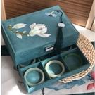 中式首飾盒大容量耳環盒子家用手鐲手飾品帶鎖絨布收納盒畢業禮品 小時光生活館