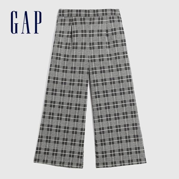 Gap女裝 簡約彈力中腰梭織休閒寬褲 623103-灰色格紋