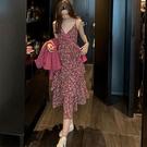 蛋糕裙洋裝 吊帶連衣裙女裝2020春秋新款流行法式桔梗蛋糕超仙雪紡碎花連衣裙