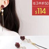 耳環 森林系 花朵 鑲鑽 吊墜 流蘇 氣質 耳環【DD1709141】 BOBI  11/30