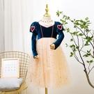 兒童禮服 女童金絲絨連衣裙春2021新款冰雪奇緣洋氣兒童禮服白雪公主裙【快速出貨八折鉅惠】