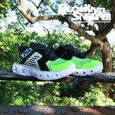 SKECHERS Slight Hypno 中童 螢光綠 黑 發光鞋(布魯克林) 2018/7月 90587LLMBK