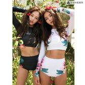泳衣女日系比基尼顯瘦高腰分體長袖防曬衣【聚寶屋】