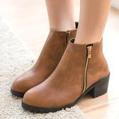 靴子.MIT韓版側拉鍊粗跟圓頭短靴.白鳥麗子