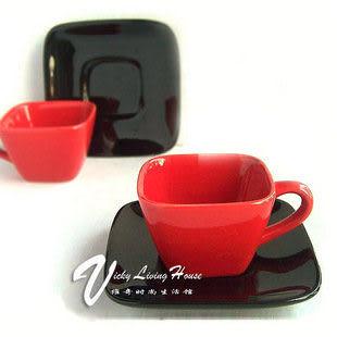 【紅與黑】橘紅方形咖啡杯碟