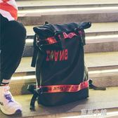 書包男韓版原宿ulzzang 高中學生時尚潮流男士背包雙肩包英倫青年 藍嵐