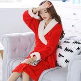 【春季上新】春棱法蘭絨睡袍女冬珊瑚絨睡衣加厚加長款浴袍大紅家居服
