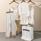 白色睡衣女士夏季冰絲性感薄款五件套裝家居服休閑仿真絲綢春 快速出貨