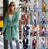 開衫上衣 2020秋冬針織開衫亞馬遜新款OL通勤寬松大碼純色毛衣女外套