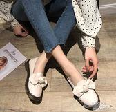 娃娃鞋 百搭英倫學院風平底圓頭蝴蝶結學生簡約淺口小皮鞋女 - 古梵希鞋包
