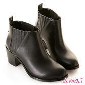 amai彈性拼接素面粗跟短靴 黑