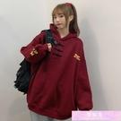 連帽T恤 日式兩件套衛衣女設計感小眾ins寬鬆韓版中國風加絨加厚chic外套 裝飾界