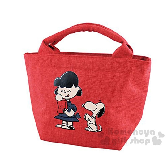 〔小禮堂〕史努比 帆布保冷手提袋《紅.露西》購物袋.便當袋.野餐袋 4981181-76228