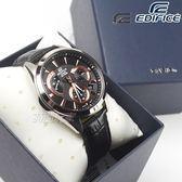 EDIFICE EFV-580L-1A 扇形逆跳計時腕錶 真皮賽車男錶 玫瑰金x黑 EFV-580L-1AVUDF CASIO卡西歐