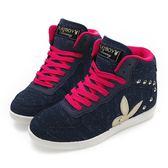 PLAYBOY 美型韓系 針織高筒內增高休閒鞋-藍
