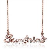 項鍊 玫瑰金純銀 鑲鑽吊墜-奢華高貴生日情人節禮物女飾品73bw45【時尚巴黎】