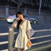 烏77甜美拼接木耳邊襯衫裙修身顯瘦宮廷風翻領襯衣裙中長款洋裝-Milano米蘭