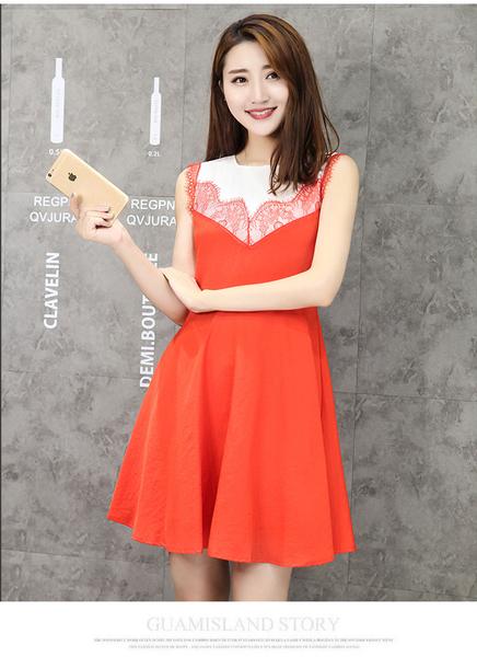 喜慶宴會約會甜美雙層麻紗拼接無袖圓裙洋裝 (橘紅  黑  姜黃)三色售 11850053