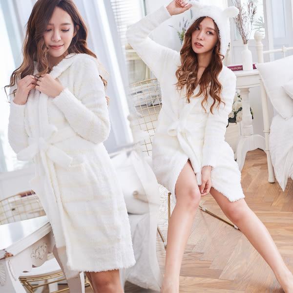高科技毛線  敲可愛連帽睡袍-睡裙(兩色:紫色、白底黃條)-保暖、居家服_蜜桃洋房