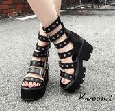 厚底涼鞋 騎士風多層皮帶扣帥氣歐美款 鬆糕鞋 大尺碼35-40*Kwoomi-A91