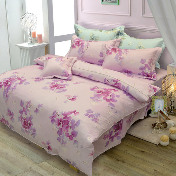 【Novaya‧諾曼亞】《桑瑪麗夏》絲光棉雙人四件式鋪棉兩用被床包組(藍)