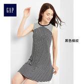 Gap女裝 休閒風柔軟挖剪無袖洋裝 297697-黑色條紋