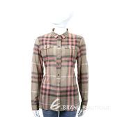 BURBERRY 半釦式設計格紋棉質襯衫(粉色) 1530362-05