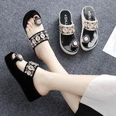 涼拖鞋女時尚百搭韓版外穿鬆糕厚底厚底楔形沙灘鞋高跟室外涼鞋 『米菲良品』