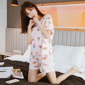新款甜美可愛純棉睡衣女夏季家居服套裝