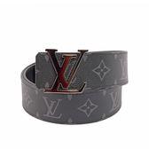 【LV】黑灰棋盤格 Logo DAMIER GRAPHITE皮帶90cm M9808U