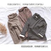 女童加絨條紋高領打底衫2018冬純棉兒童寶寶加厚連帽T恤男童保暖上衣 薇薇