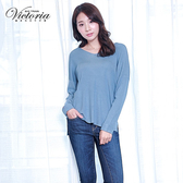 Victoria V領落肩長袖線衫-女-灰藍紗-Y65019