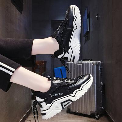 老爹鞋 女士運動鞋女夏季透氣跑步鞋2019秋季百搭休閒厚底學生網紅老爹鞋 2色36-40