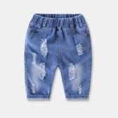 女童褲子牛仔七分褲2019夏季裝新款歲兒童短褲小童破洞中褲寬鬆