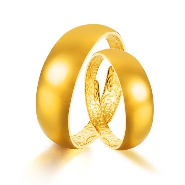 越南沙金戒指男女士時尚鍍24k仿真黃金個性情侶百搭對戒歐幣首飾
